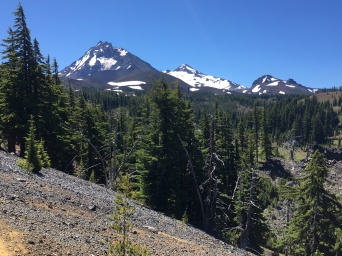 Views of the Three Sisters: North (10,085'), Middle 10,047'), and South (10,358')