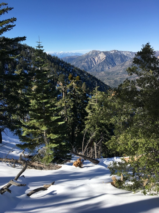 View of three ranges: San Gorgonio, San Bernardino, San Gabriels