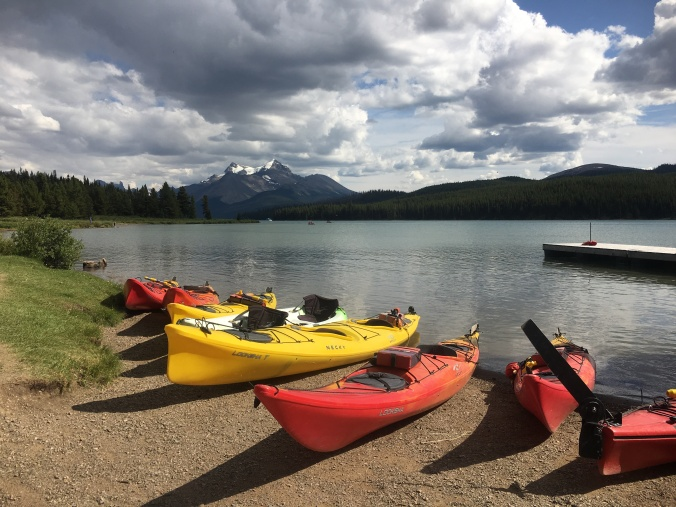 Kayak rentals at Maligne Lake